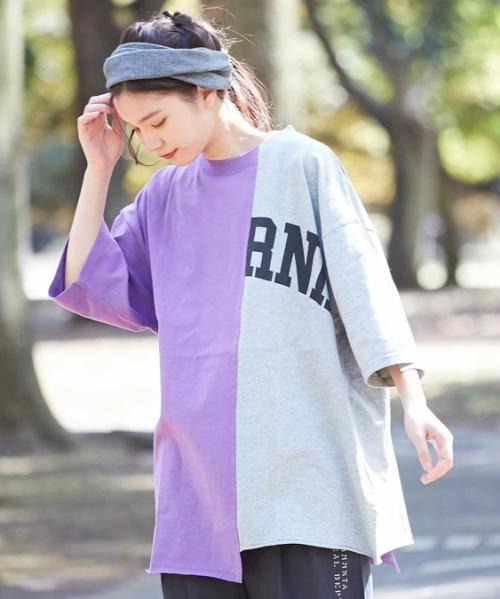 OE天竺 リメイク風 チュニック Tシャツ