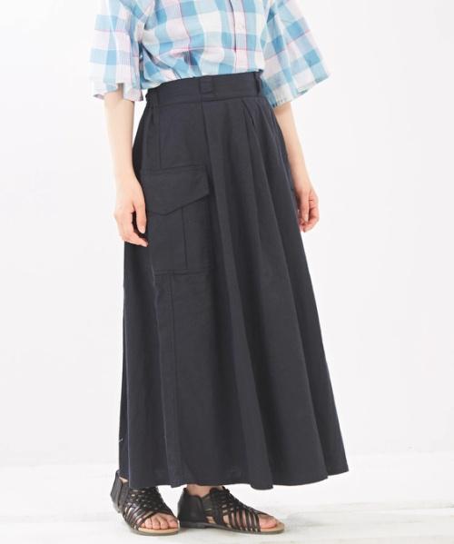 綿麻 ストレッチ タック フレアスカート