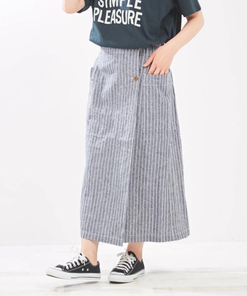 綿麻スラブ先染め フロントタック スカート