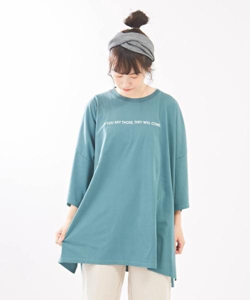 【対象ワンピース さらに15%OFF】天竺 ピグメント染め ビッグチュニック Tシャツ