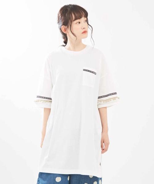 【再値下げ】MVS天竺 袖フリンジ付 チュニック Tシャツ