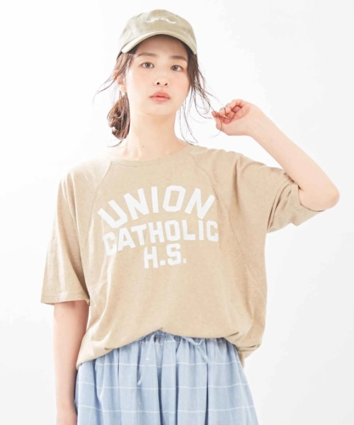 綿カラーネップ天竺 ビッグ ラグランスリーブ Tシャツ