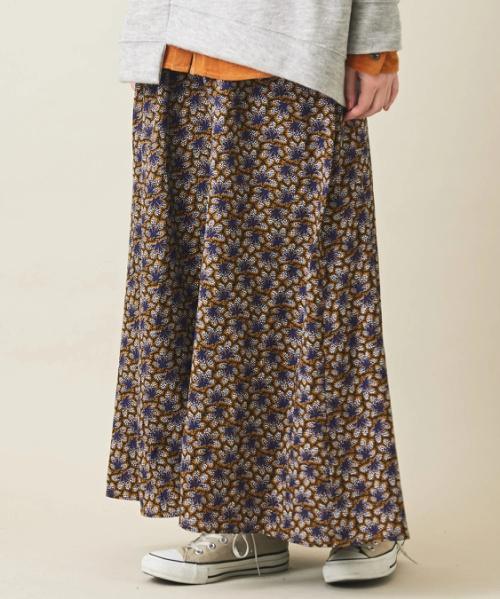 リーフプリント ギャザースカート