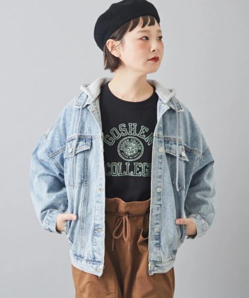 デニム×裏毛フード ジャケット