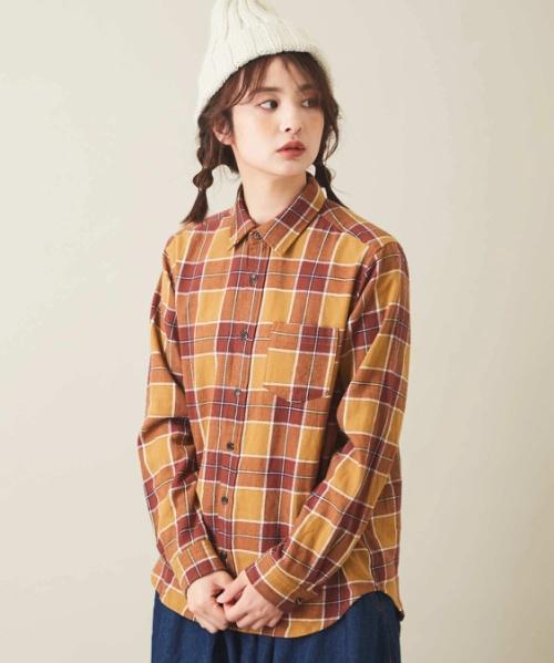 先染めネップ ネルチェック レギュラーシャツ