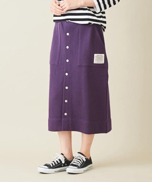 ビッグループ裏毛 フロントボタン スウェット スカート