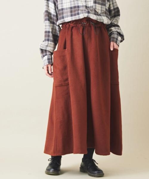 起毛ビエラ サイドポケット ギャザースカート