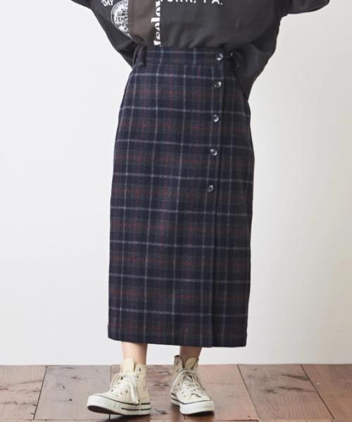 ウール混 セミタイトスカート