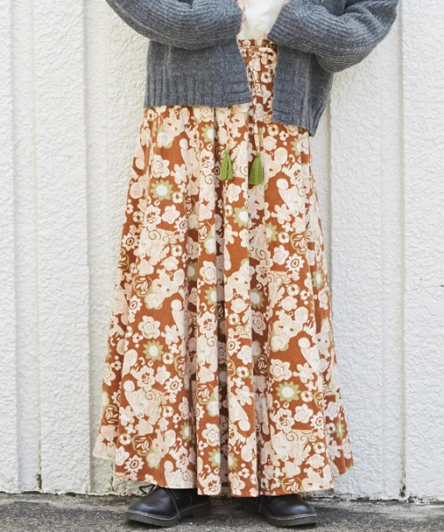 インド 起毛ツイル プリント ギャザースカート