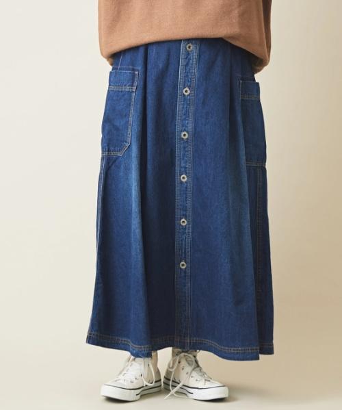 【セール除外商品】7オンスデニム サイドポケット タック スカート