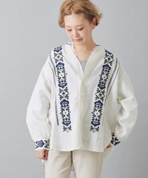 インド 綿麻スラブ×刺繍 Vネック シャツ