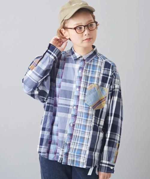 インド ミックスチェック 切替 ビッグシャツ