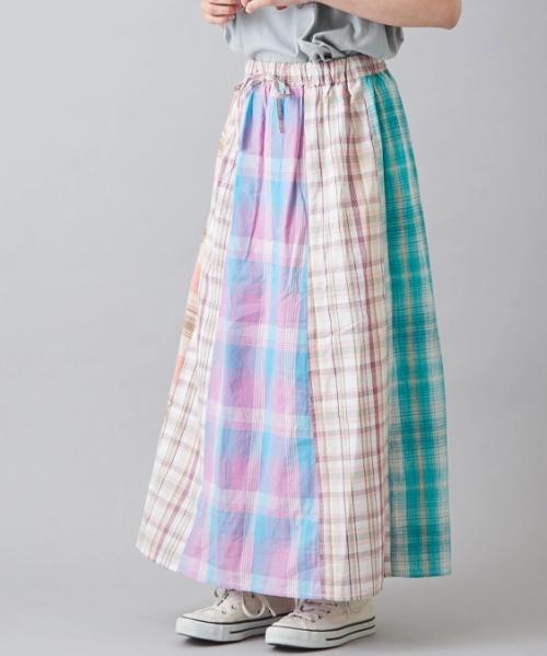 インド ミックスチェック 切替 ギャザースカート