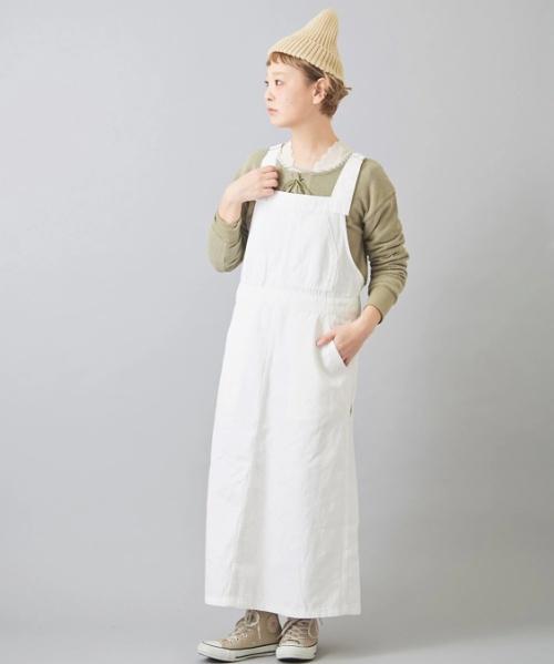 ムラ糸 カツラギ サロペットスカート