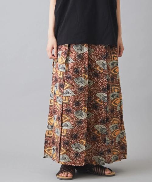 インド キャンブリック フラワープリント タック ギャザースカート
