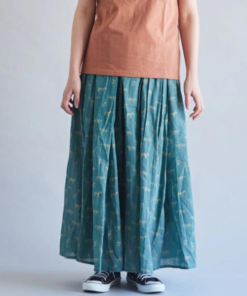 インド キャンブリック アニマルプリント タック ギャザースカート