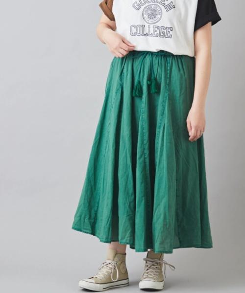 インド ボイル アシッドウォッシュ 切替 ギャザースカート