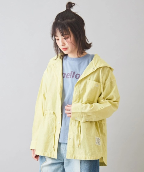 綿麻 シャンブレー パーカーシャツ
