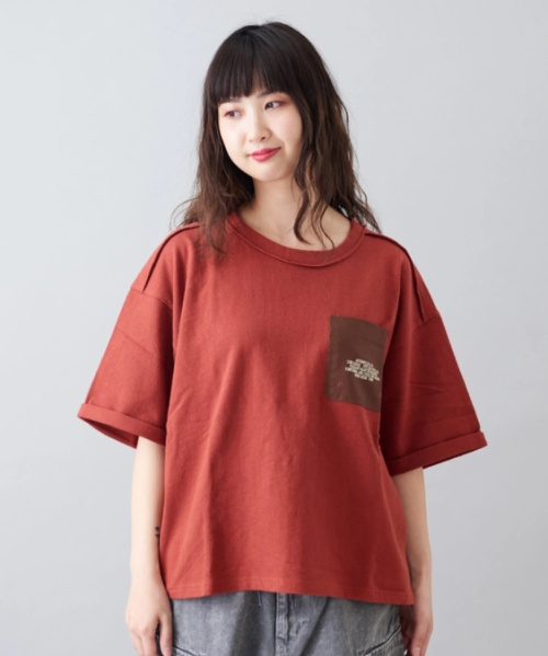 同色 ネップ 天竺 ポケット付 クルーネック Tシャツ