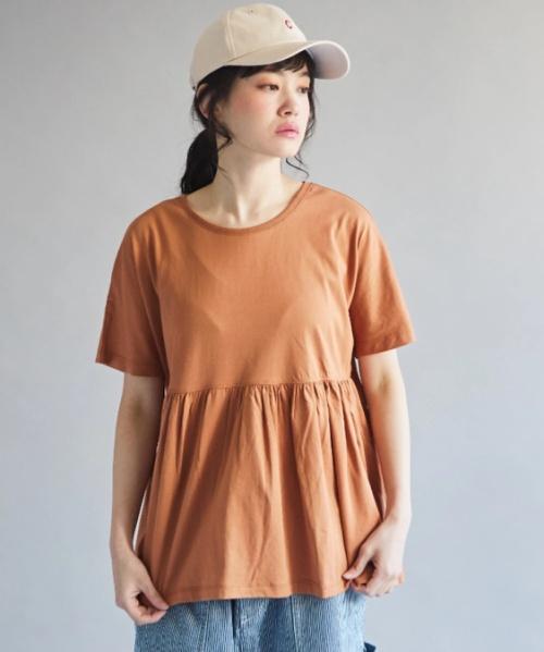 天竺 シルケットタッチ 袖下切替 フレンチスリーブ Tシャツ
