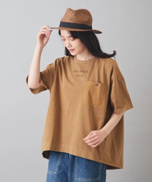 CVC空紡糸天竺 製品染め パッチポケ付 切替 クルーネック Tシャツ