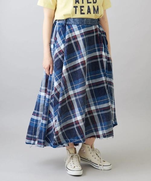 【再値下げ】インディゴチェック ラップ風スカート