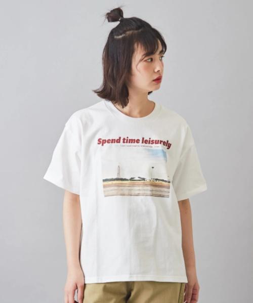 OE天竺 フォトプリント クルーネック Tシャツ
