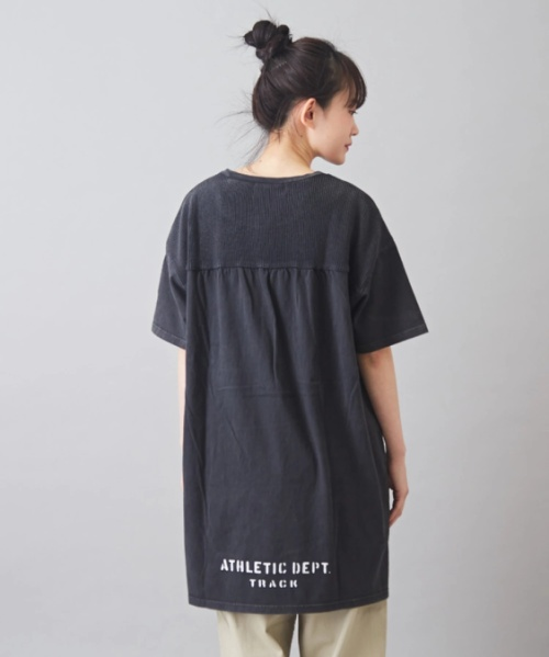 【再値下げ】天竺×ニット ピグメント染め ポケット付 ロング Tシャツ