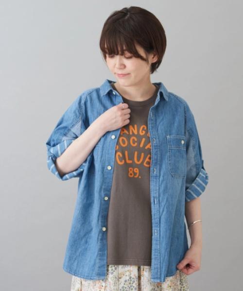 5オンス デニム ラグラン 5分袖 シャツ