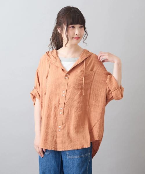 ドビーストライプ パーカーシャツ