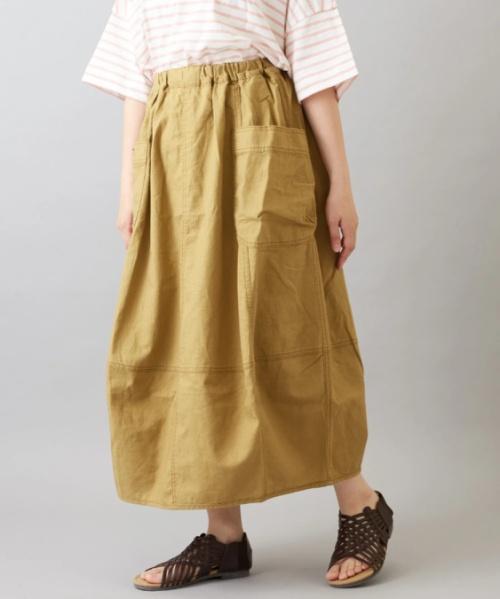 綿麻スラブ コクーン ギャザースカート