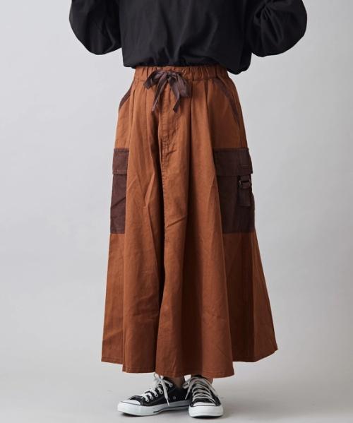 綿ツイル サイドポケット ギャザースカート