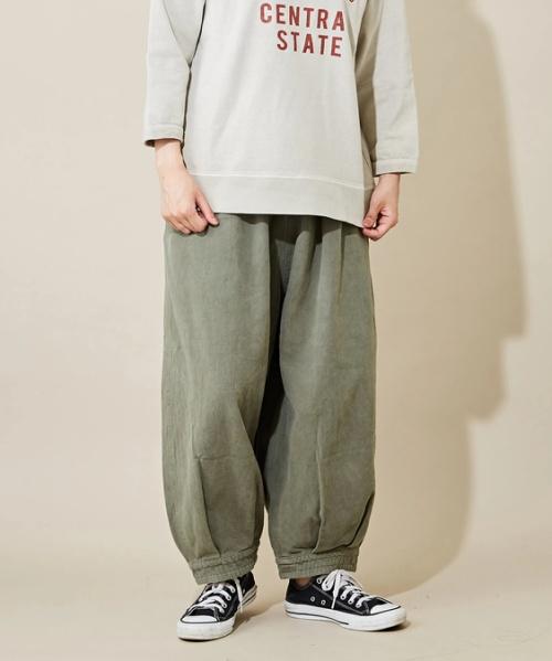 ペールトーン染め ツイル 裾カフス ギャザーパンツ