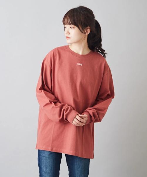 OE天竺 刺繍入り ロング Tシャツ