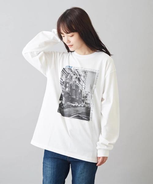 OE天竺 プリント ロング Tシャツ