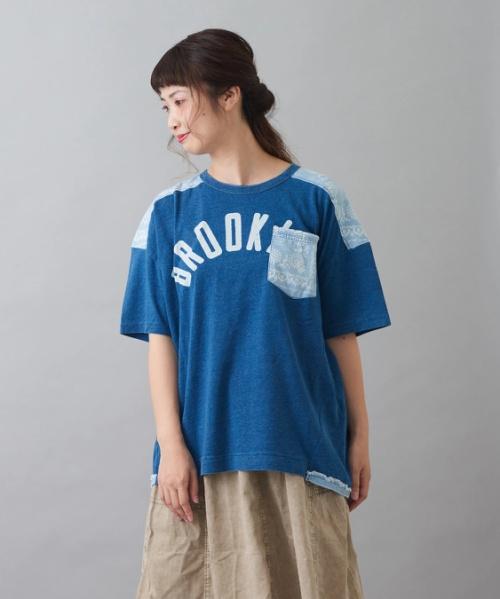 インディゴ天竺 バンダナ柄 切替 ポケット付 クルーネック Tシャツ