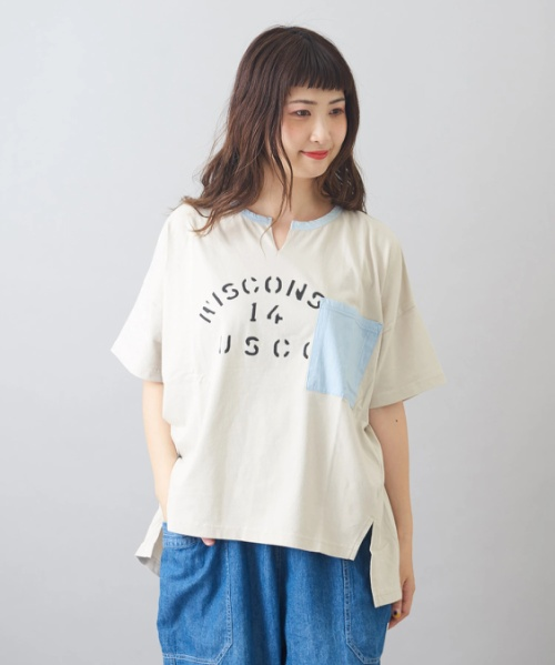 天竺 パウダー加工 ボックス Tシャツ