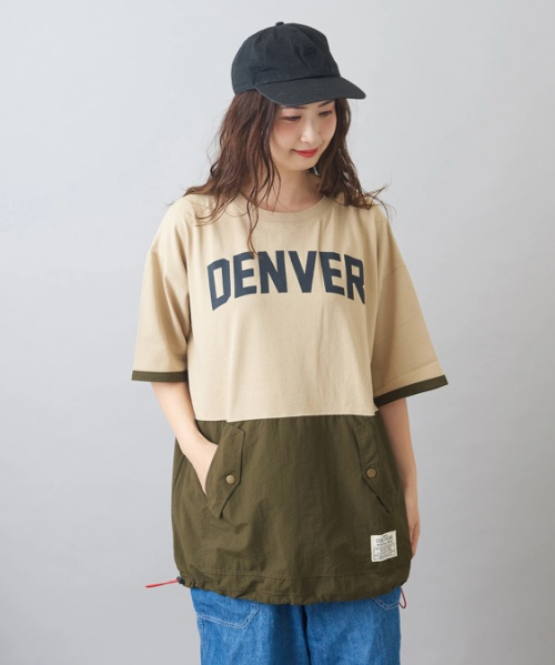 OE天竺 布帛 切替 プリント チュニック Tシャツ