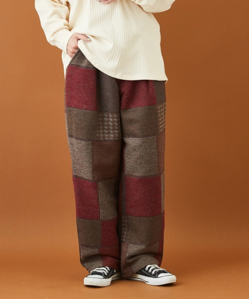【Mサイズのみ予約商品/12月上旬発送予定】パッチワーク風 ウール混 ワンタック パンツ