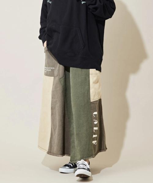 ツイル 微配色 リメイク風 スカート