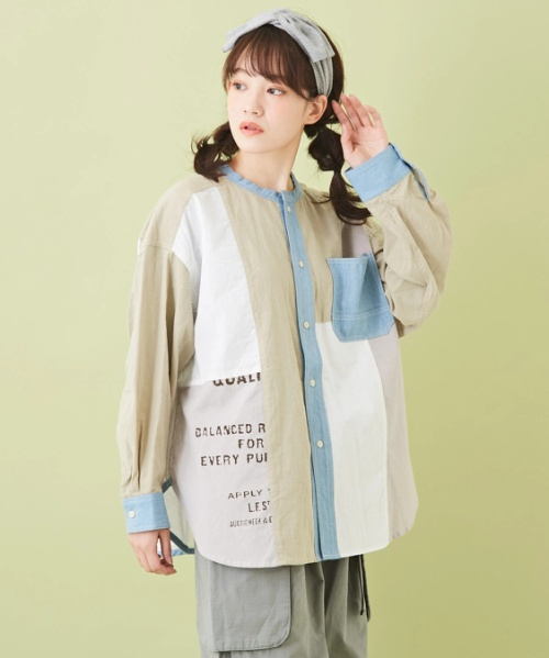 ★綿ボイル × デニム 切替 ノーカラーシャツ