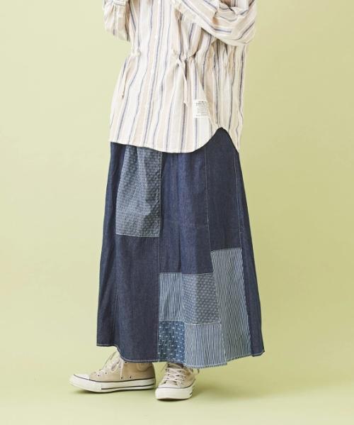 ★デニム パッチワーク ギャザースカート