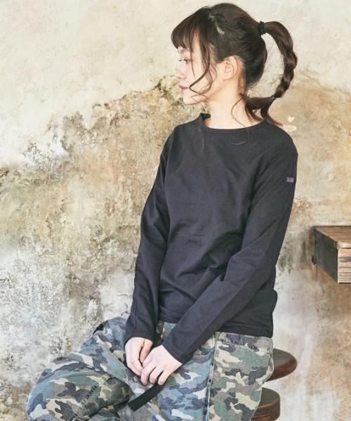 【セール除外商品】リサイクルコットン天竺 無地 巾着付 ベーシック 長袖Tシャツ