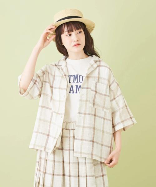 麻風 先染めチェック 開襟 5部袖シャツ