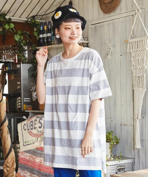 【セール除外商品】空紡糸 USAコットン 天竺 ボーダー ボトル入り 脇スリット チュニック ボトルTee