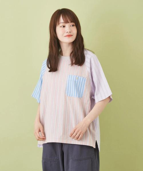 ストライプミックス ラグランTシャツ