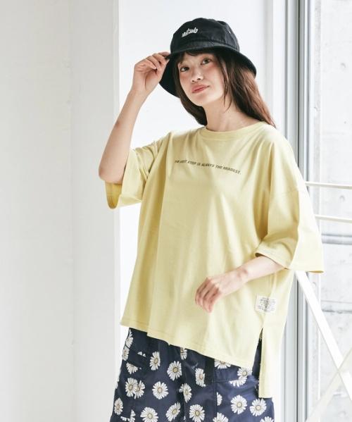 天竺 汗ジミ防止加工 ロゴプリント ビッグTシャツ