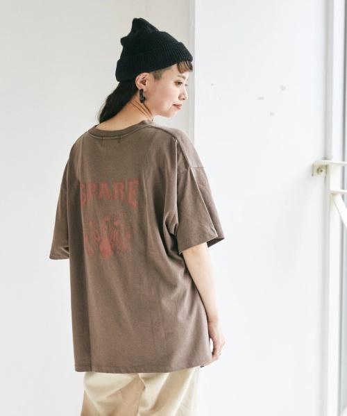 OE天竺空紡糸 プリント ビッグTシャツ