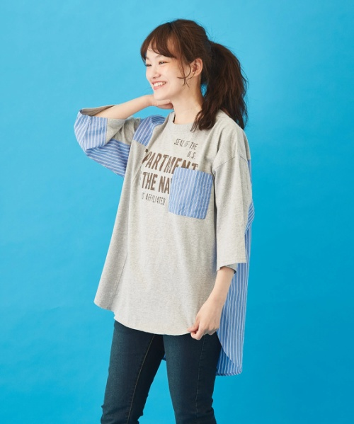 リサイクル天竺 × 布帛 リメイク風 ビッグTシャツ