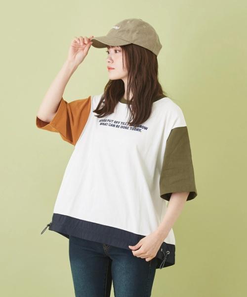 OE天竺 裾ドロストTシャツ